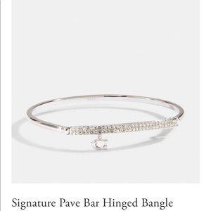 NWT Coach Signature Pave Bar Hinged Bangle